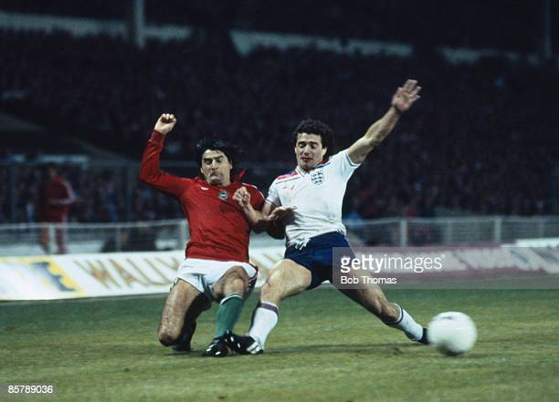 England captain Kevin Keegan clashes with Hungarian defender Jozsef Toth during their World Cup Qualifying match at Wembley Stadium 18th November...