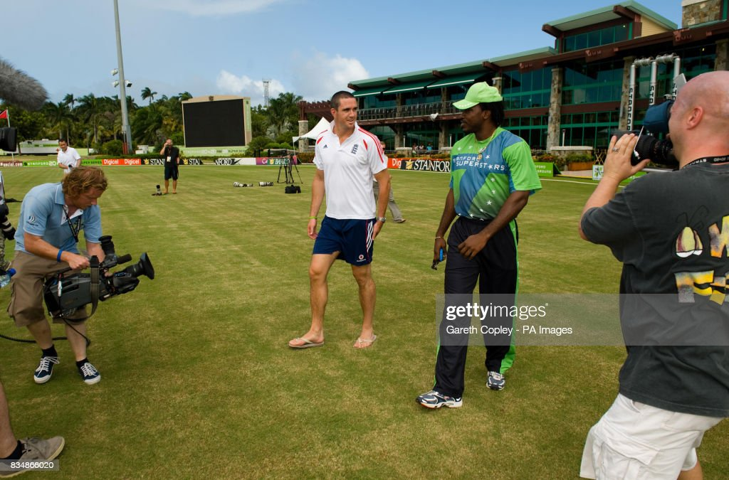 England captain Kevin Pietersen and Stanford Superstars