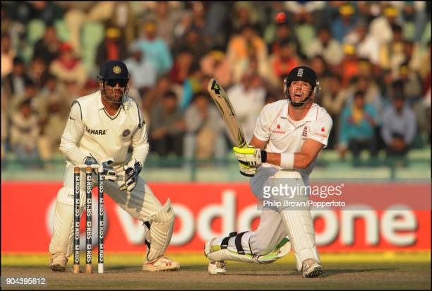 England captain Kevin Pietersen tries a switch hit while batting in his innings of 144 in the 2nd Test match between India and England at the Punjab...