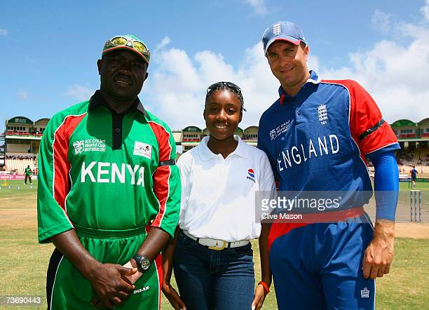 England captain Michael Vaughan and Kenya captain Steve Tikolo pose with the Pepsi mascot during the ICC Cricket World Cup Group C match between...