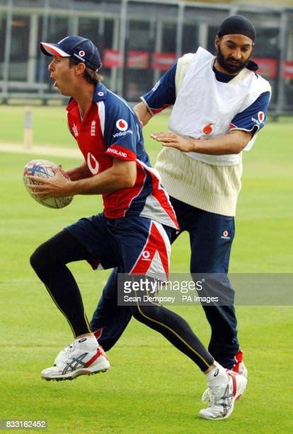 England captain Michael Vaughan and Monty Panesar during a nets session at Lord's Cricket Ground, London.