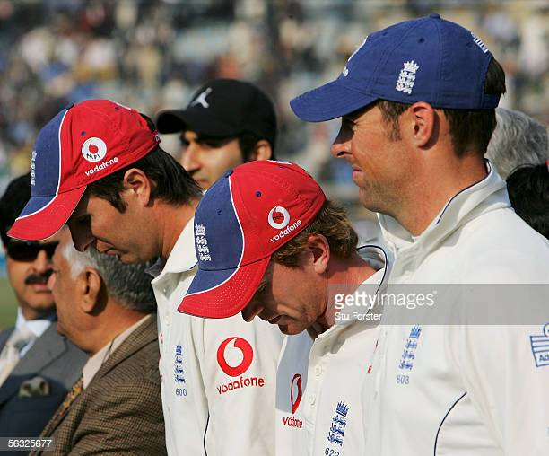 England Captain Michael Vaughan and Paul Collingwood look dejected as Marcus Trescothick looks on at the end of the Fifth and Final Day of the Third...