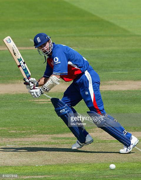 England captain Michael Vaughan clips some runs off his legs during the eighth Natwest Series game between England and West Indies at Lords on July 6...