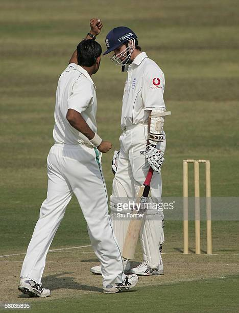 England captain Michael Vaughan falls to the bowling of Najaf Shah lbw for 9 runs during the first day of the three day game between England and a...