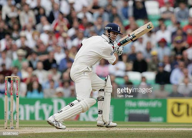 England captain Michael Vaughan hits out during day five of the Fifth npower Ashes Test match between England and Australia at the Brit Oval on...