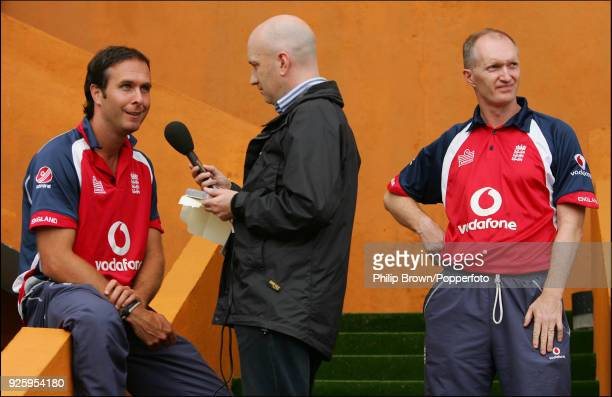 England captain Michael Vaughan is interviewed by BBC cricket correspondent Kevin Howells after the 3rd Test match between Sri Lanka and England at...