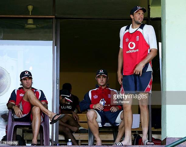 England captain Michael Vaughan Phil Mustard and Steve Harmison take a breather after England cricket nets at the Asgiriya Stadium on November 30,...
