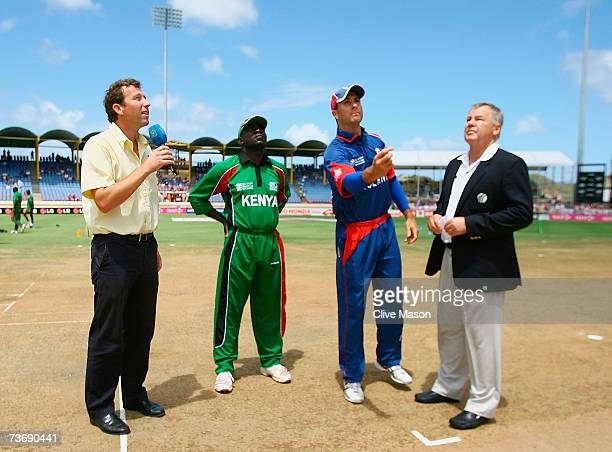 England captain Michael Vaughan tosses the coin watched by Steve Tikolo of Kenya commentator Michael Atherton and match referee Mike Procter during...