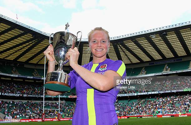 England Captain Michaela Staniford poses with the IRB Women's Sevens Challenge Cup at Twickenham Stadium on May 13 2012 in London England