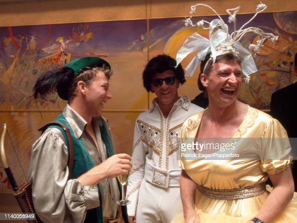 England captain Mike Atherton Alec Stewart and team physiotherapist David Roberts in fancy dress for the England team's Christmas lunch in Melbourne...