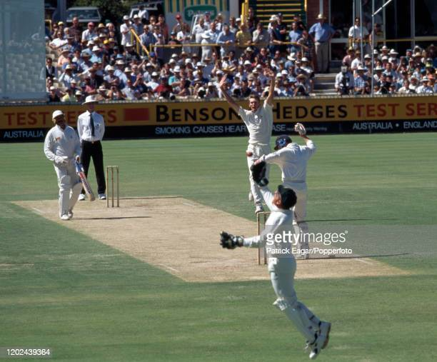 England captain Mike Atherton is caught behind for 4 runs by Australia's wicketkeeper Ian Healy off the bowling of Glenn McGrath during the 5th Test...