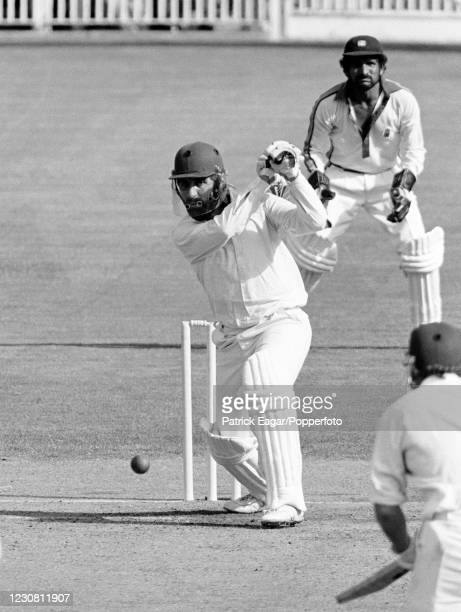 England captain Mike Brearley batting during his innings of 25 not out in the 1st Benson and Hedges World Series Cup Final between England and West...