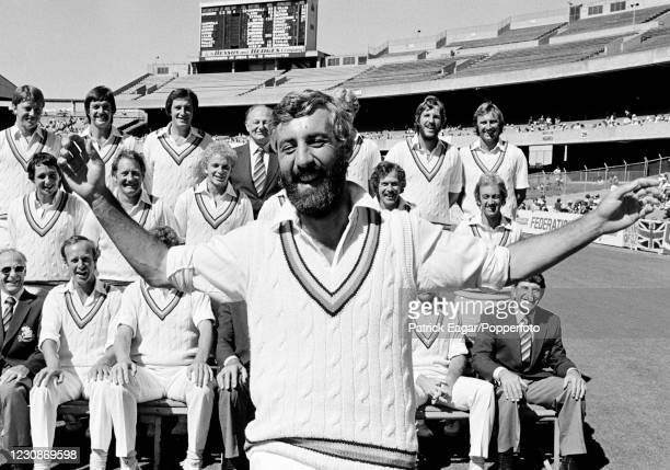 England captain Mike Brearley gets close to the camera during a photocall for the England touring party during the 3rd Test match between Australia...