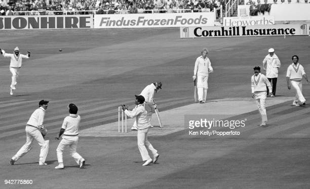 England captain Mike Brearley is caught behind by Gundappa Viswanath off the bowling of Mohinder Amarnath for 15 runs during the 3rd Test match...