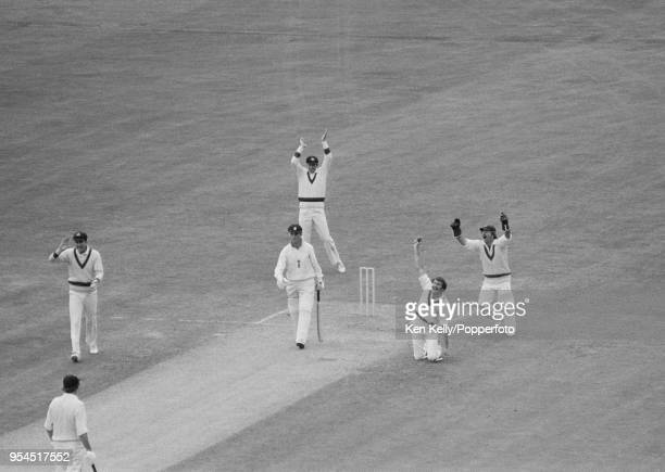 England captain Mike Brearley is caught by Richie Robinson of Australia for 49 runs in the 1st Test match between England and Australia at Lord's...