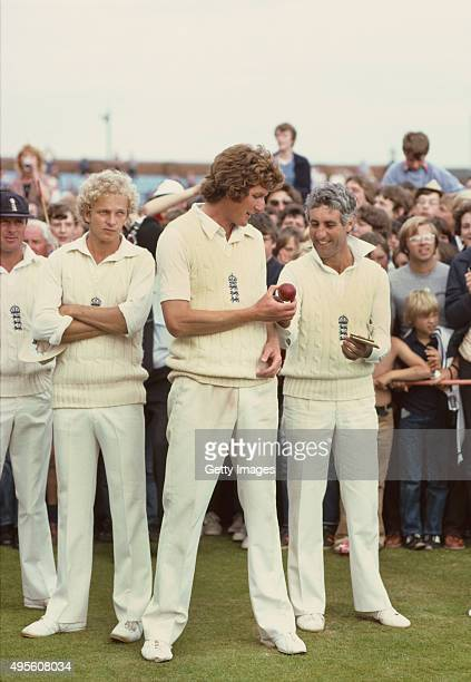 England captain Mike Brearley shares a joke with Bob Willis as Geoffrey Boycott and David Gower look on after England had beaten Australia in the 5th...