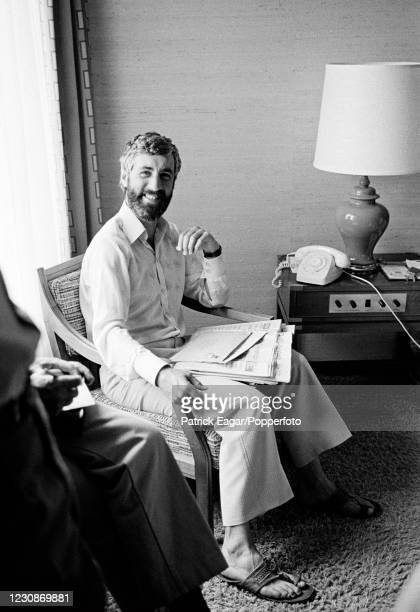 England captain Mike Brearley talks to the press in a hotel room on the rest day of the 3rd Test match between Australia and England at the MCG,...