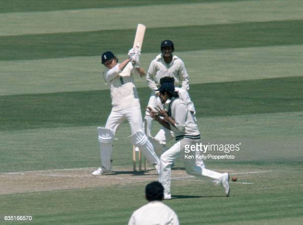 England captain Mike Denness batting during his innings of 100 in the 3rd Test match between England and India at Edgbaston Birmingham 6th July 1974...
