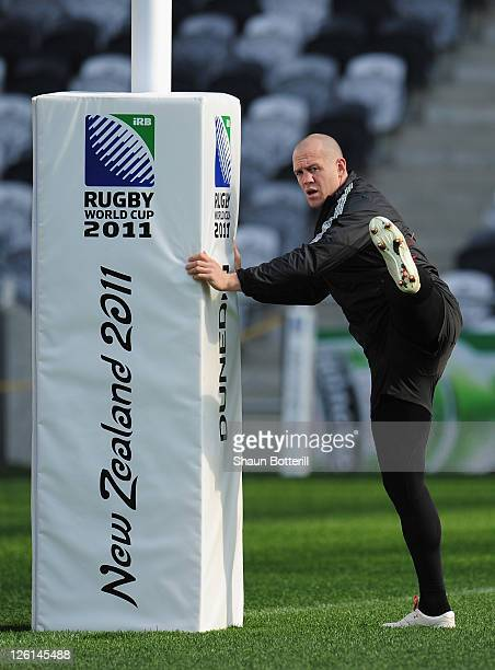 England captain Mike Tindall takes part in a training session during an England IRB Rugby World Cup 2011 captain's run at Otago Stadium on September...