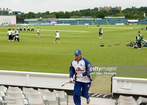 England captain Nasser Hussain runs off the pitch during training at the Riverside Ground of Durham County Cricket Club at Chester le Street as...