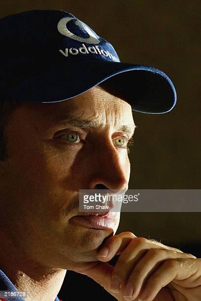 England Captain Nasser Hussain talks to the press during nets practice at Edgebaston Cricket Ground on July 23 2003 in Birmingham England