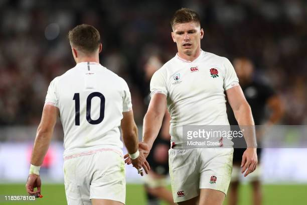 England captain Owen Farrell and George Ford during the Rugby World Cup 2019 SemiFinal match between England and New Zealand at International Stadium...