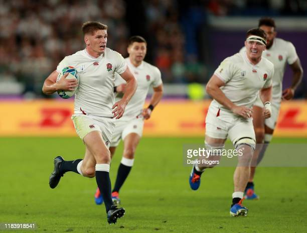England captain Owen Farrell breaks with the ball during the Rugby World Cup 2019 SemiFinal match between England and New Zealand at International...