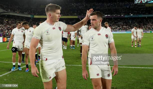 England captain Owen Farrell celebrates with his team mate George Ford after their victory during the Rugby World Cup 2019 SemiFinal match between...