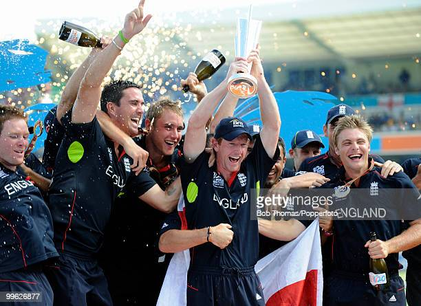 England captain Paul Collingwood and his team celebrate with the trophy following the final of the ICC World Twenty20 between Australia and England...