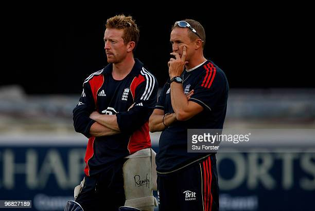 England captain Paul Collingwood chats to coach Andy Flower during England nets today ahead of their two match World Call T20 Challenge Trophy series...