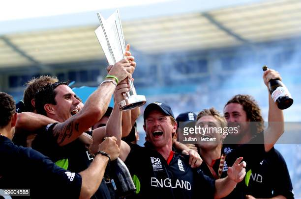 England captain Paul Collingwood with the trophy at the presentations after his teams victory against Australia in the final of the ICC World...