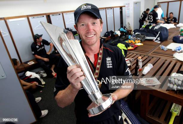 England captain Paul Collingwood with the trophy in the teams dressing room after his teams victory against Australia in the final of the ICC World...