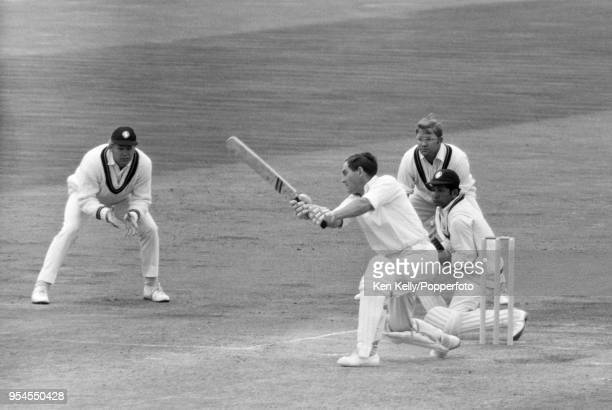 England captain Ray Illingworth batting during the 3rd match of the five-match series between England and a Rest of the World XI, at Edgbaston,...