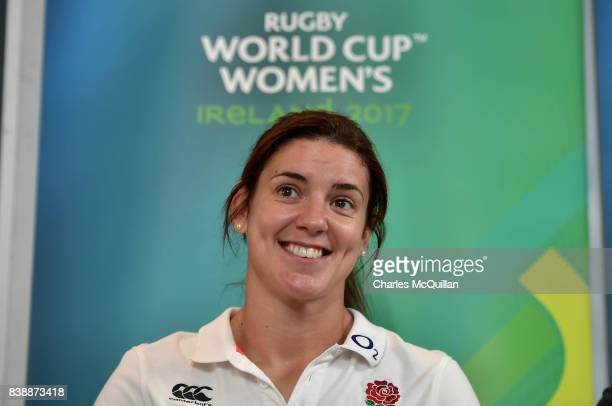 England captain Sarah Hunter answers questions from the media during the prefinal press conference at Clayton Hotel on August 25 2017 in Belfast...