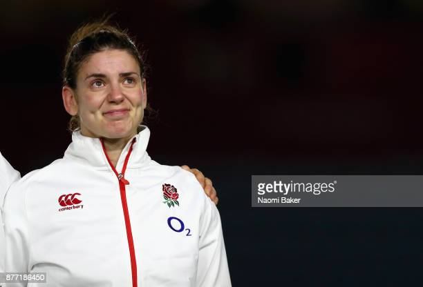 England captain Sarah Hunter lines up for the national anthem prior to winning her 100th cap during the Old Mutual Wealth Series match between...