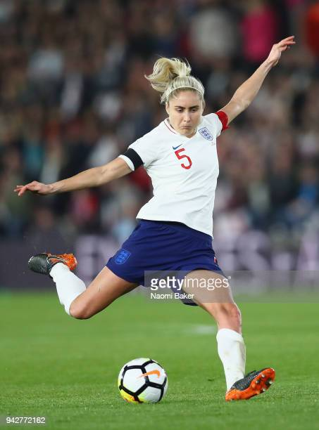 England Captain Steph Houghton in action during the Women's World Cup Qualifier between England and Wales at St Mary's Stadium on April 6 2018 in...