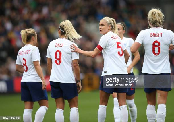 England captain Steph Houghton organises a defensive wall during the Womens Football International Friendly match between England and Brazil at...