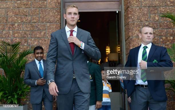 England captain Stuart Broad arrives alongside Mahela Jayawardene and William Porterfield for the ICC World Twenty20 captains photocall ahead of the...