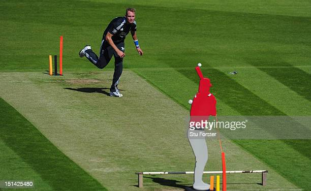 England captain Stuart Broad in action during England nets at Emirates Durham ICG on September 7 2012 in ChesterleStreet England