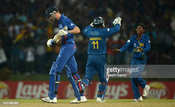 England captain Stuart Broad leaves the field after being caught out by Akila Dananjaya of Sri Lanka during the ICC World Twenty20 2012 Super Eights...