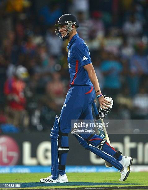England captain Stuart Broad leaves the field after being dismissed by Ashok Dinda of India during the ICC World Twenty20 2012 Group A match between...