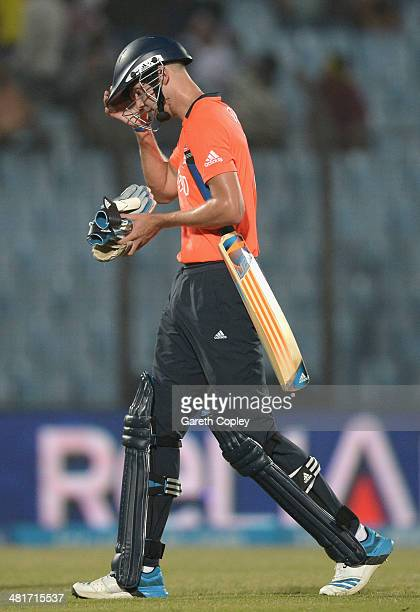England captain Stuart Broad leaves the field after being dismissed by Mudassar Bukhari of the Netherlands during the ICC World Twenty20 Bangladesh...