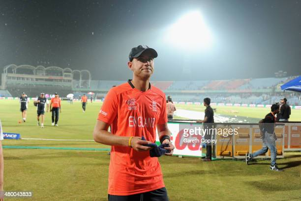 England captain Stuart Broad leaves the field as second rain shower stops play during the ICC World Twenty20 Bangladesh 2014 group 1 match between...