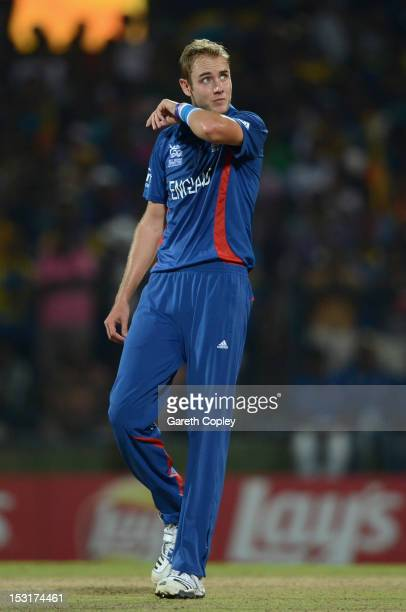 England captain Stuart Broad reacts after bowling during the ICC World Twenty20 2012 Super Eights Group 1 match between Sri Lanka and England at...