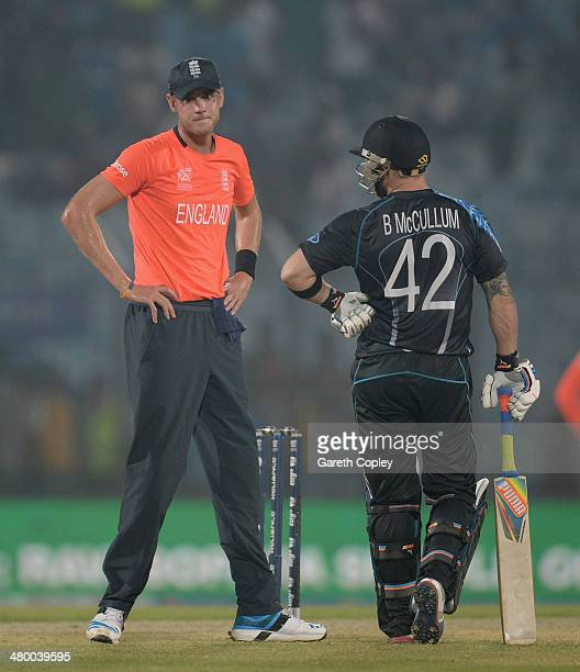 England captain Stuart Broad speaks with New Zealand captain Brendan McCullum as rain stops play during the ICC World Twenty20 Bangladesh 2014 group...