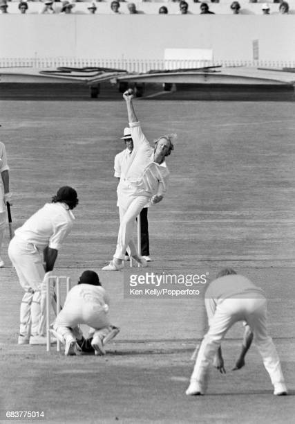 England captain Tony Greig bowling to Australia captain Ian Chappell during the 3rd Test match between England and Australia at Headingley Leeds 18th...