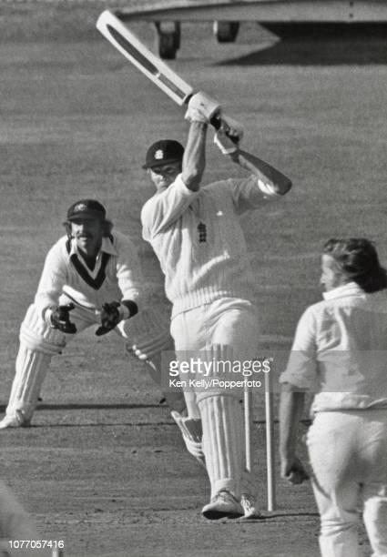 England captain Tony Greig drives a delivery from Austalia's Gary Gilmour during the 3rd Test match between England and Australia at Headingley Leeds...