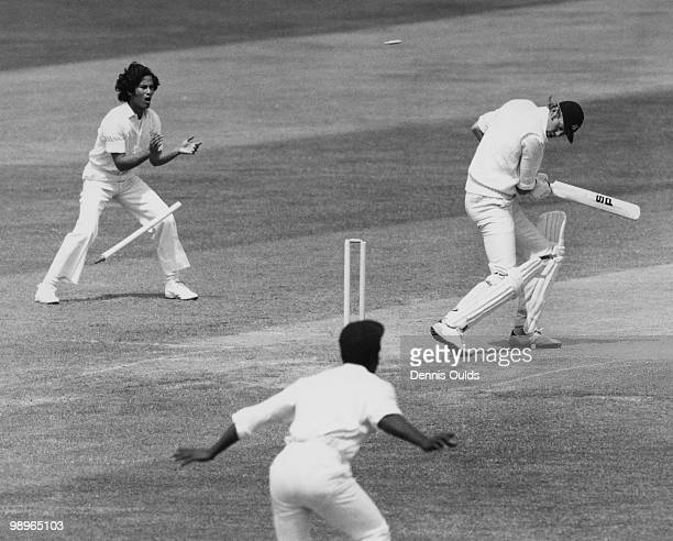 England captain Tony Greig is bowled for a duck by Andy Roberts during the First Test against the West Indies at Trent Bridge Nottingham 7th June 1976