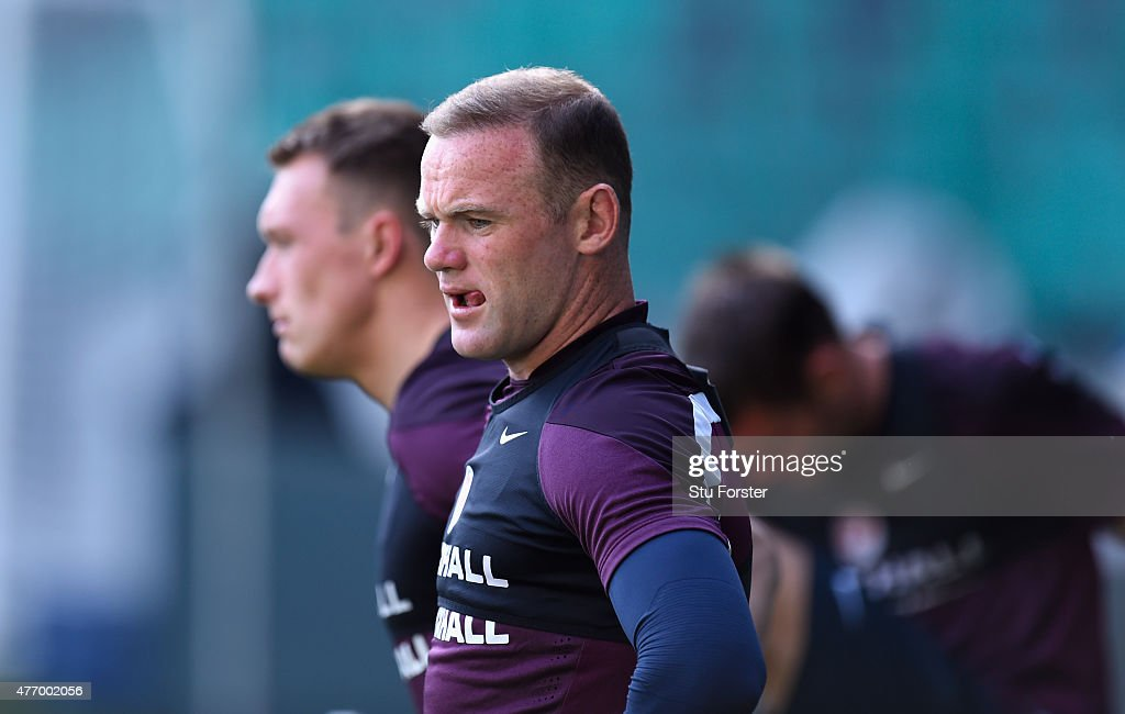 England captain Wayne Rooney looks on during England Training ahead of sunday's UEFA EURO 2016 Qualifier between Slovenia and England at Stozice on June 13, 2015 in Ljubljana, Slovenia.