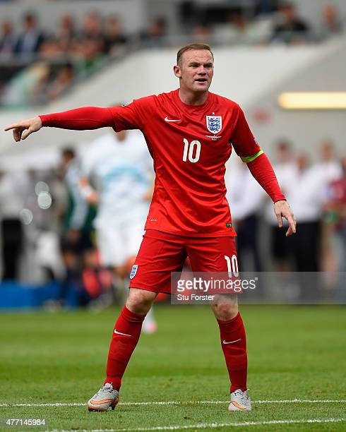 England captain Wayne Rooney reacts during the UEFA EURO 2016 Qualifier between Slovenia and England on at the Stozice Arena on June 14 2015 in...
